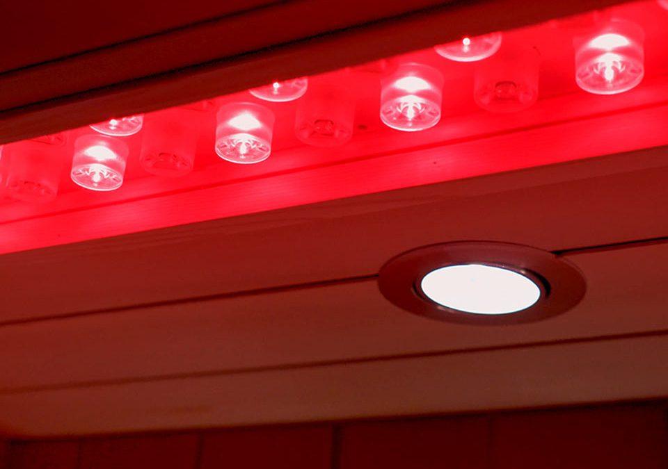 High-intensity Red Lights inside a Perspire Sauna
